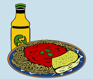 free vector Milk Energy-drink Spaghetti Sauce Garlic Bread clip art