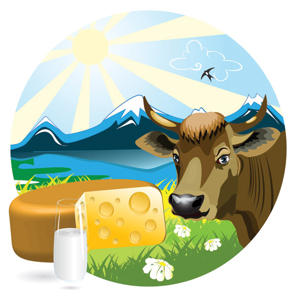 free vector Milk theme vector