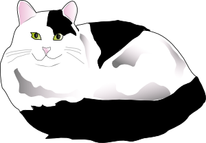 free vector Missiridia Black And White Fluffy Cat clip art