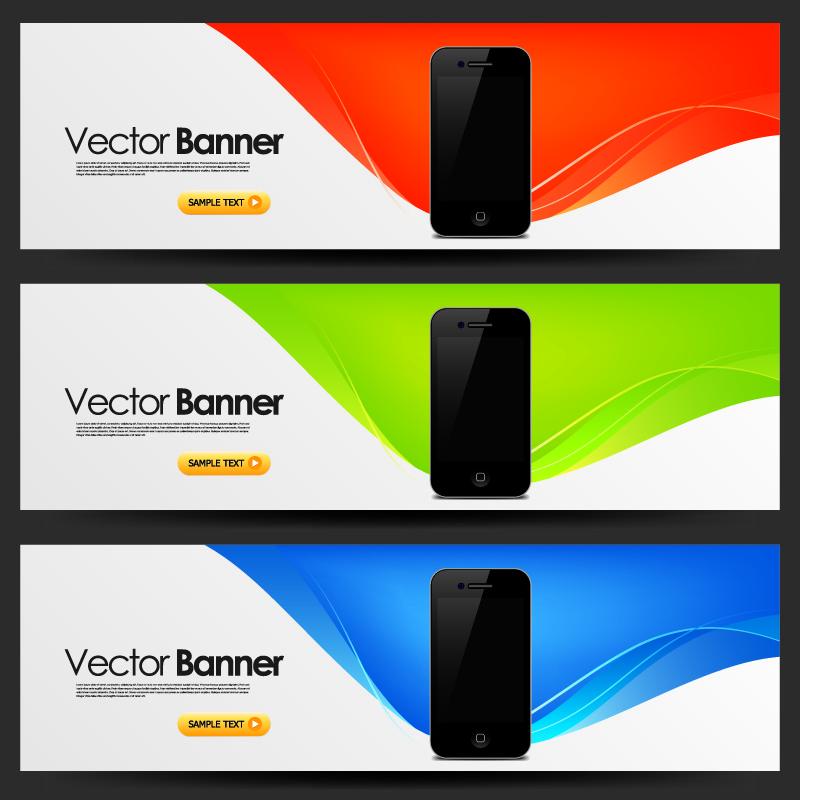 free vector Mobile banner design trend pattern vector 2