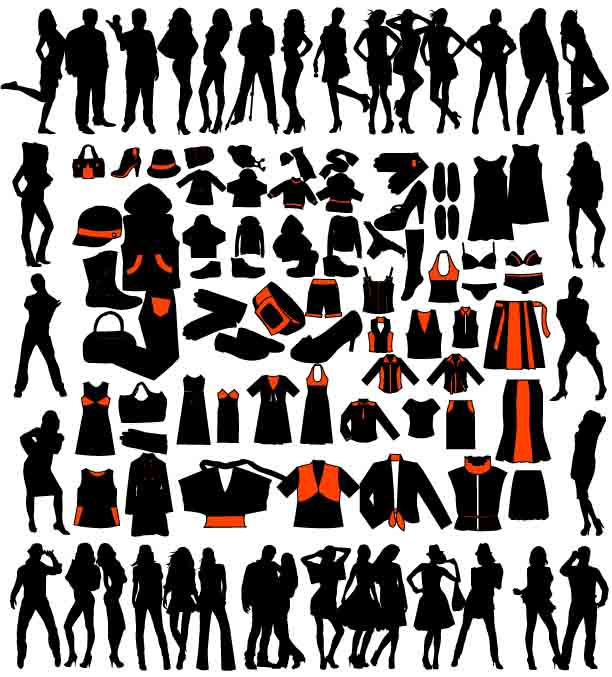 free vector Model silhouette vector