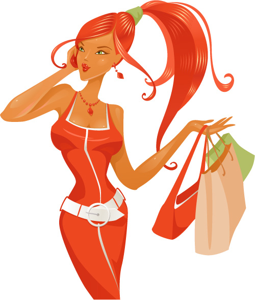 free vector Modern fashion trend of women vector -2