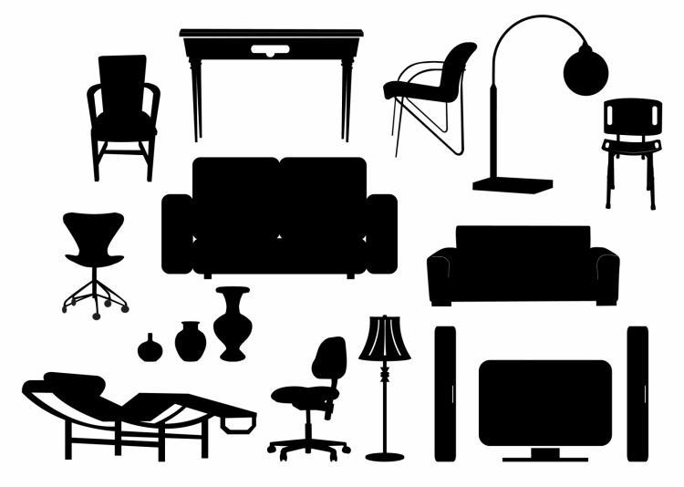 Modern Classroom Vector : Modern furniture silhouettes free vector
