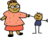 free vector Mom Holding Childs Hand clip art
