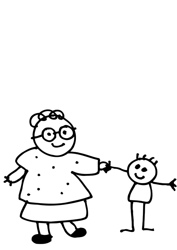 free vector Mom holding childs hand - outline