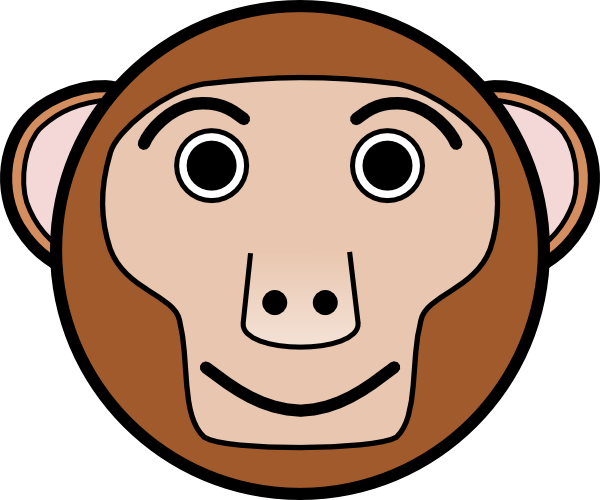 Monkey Face Template Monkey rounded face clip art