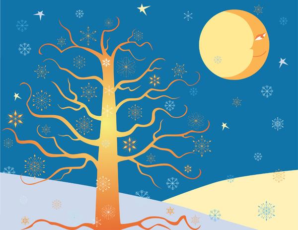 free vector Moon sun tree