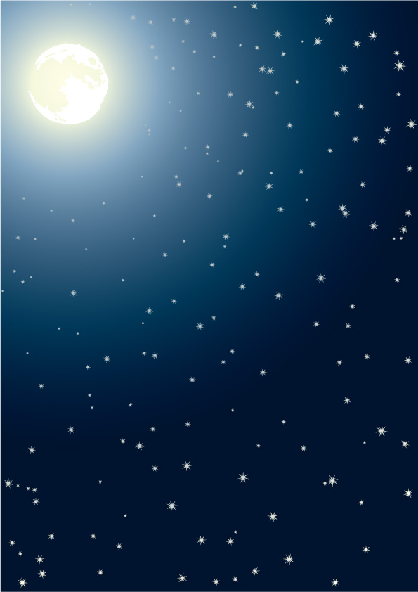 free vector Moonlight and snow vector