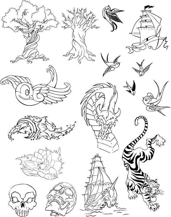 free vector More than one line drawing vector graphics