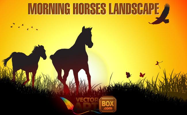 free vector Morning Horses Landscape