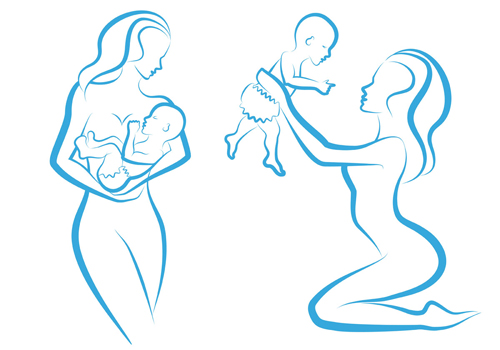 free vector Mother and baby line silhouette vector