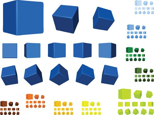 free vector Multicolor multiangle cube vector
