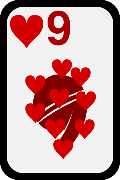 free vector Nine Of Hearts clip art