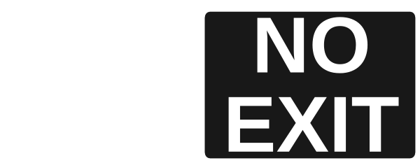 free vector No Exit White On Black clip art