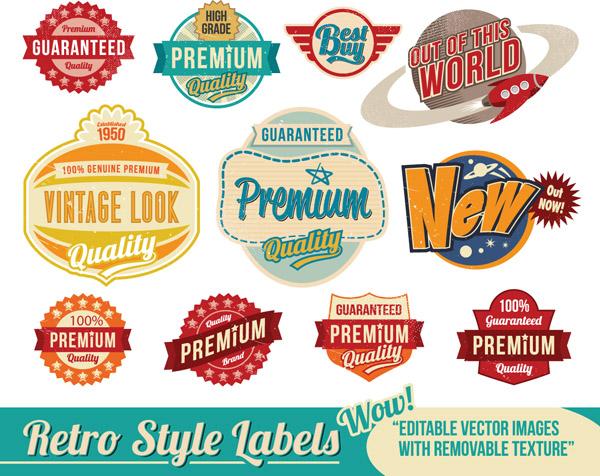 free vector Nostalgia trend label vector