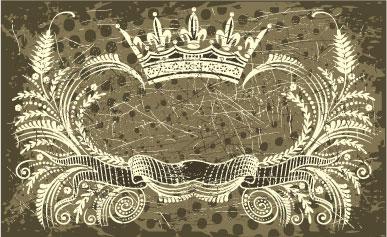 free vector Nostalgic european crown ribbon pattern vector
