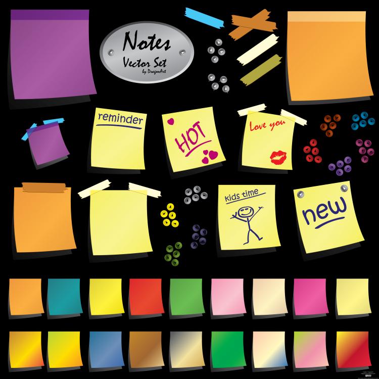 free vector Notes Vector Set