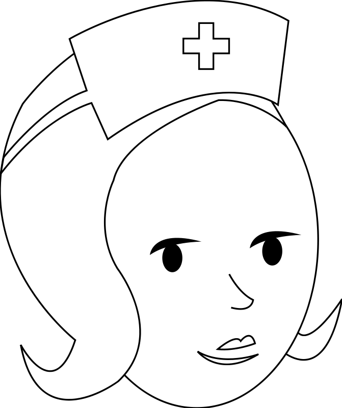 free vector Nurse Line Art
