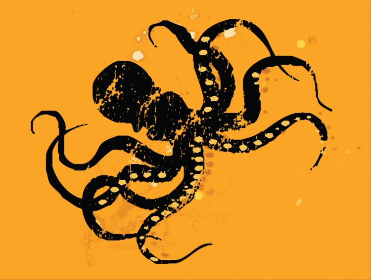 free vector Octopus retro print | Black & Orange | deep sea creature