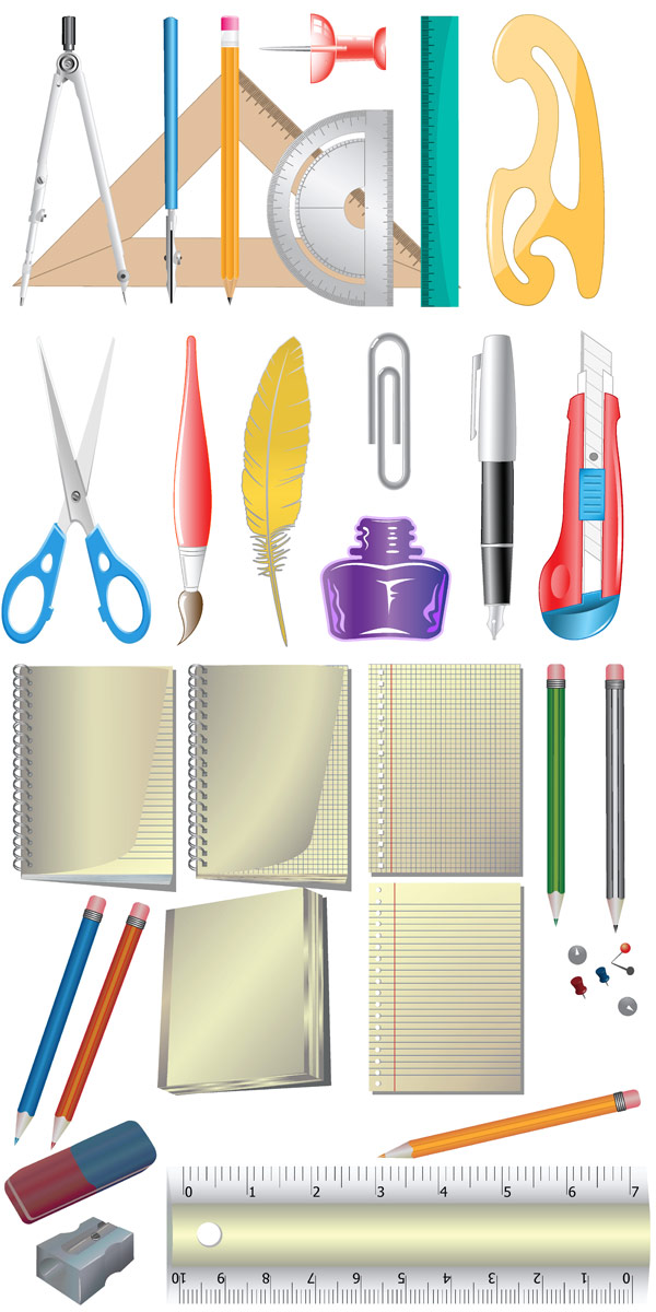 free vector Office supplies icon vector