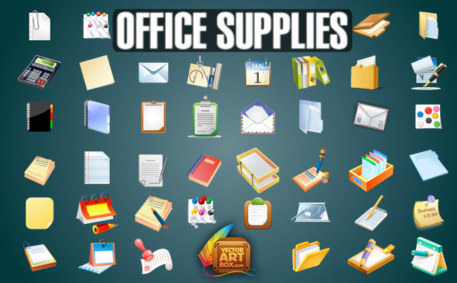 free vector Office Supplies Set