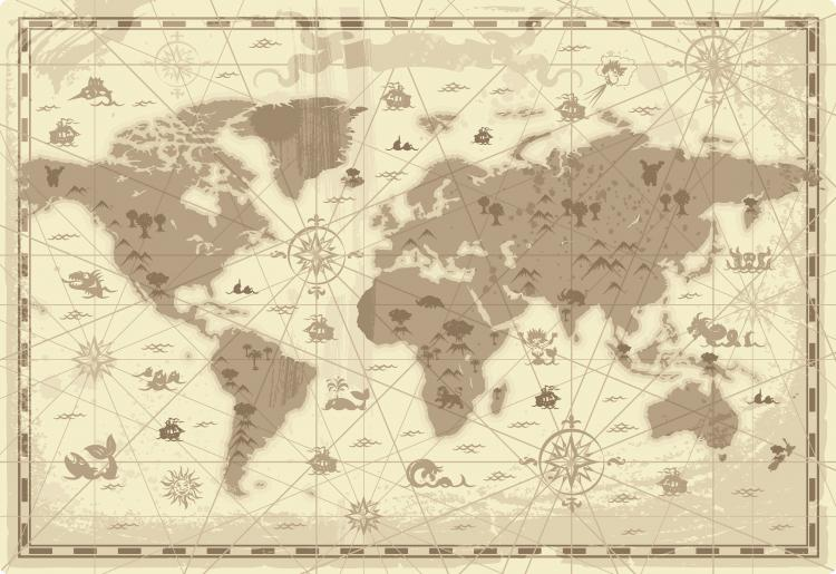 free vector Old map and compass vector 2