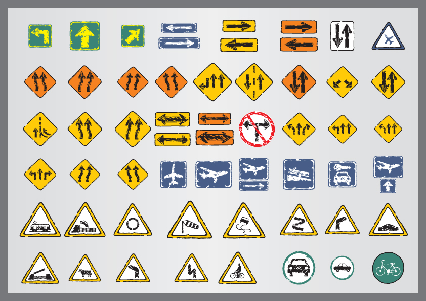 free vector Old traffic signs icon 02 vector