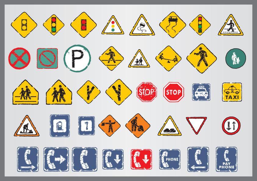 free vector Old traffic signs icon 03 vector