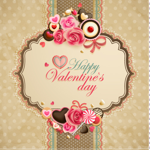 free vector Oldfashioned valentine cards 05 vector