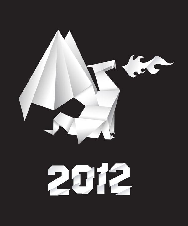 free vector Origami dragon vector foreign