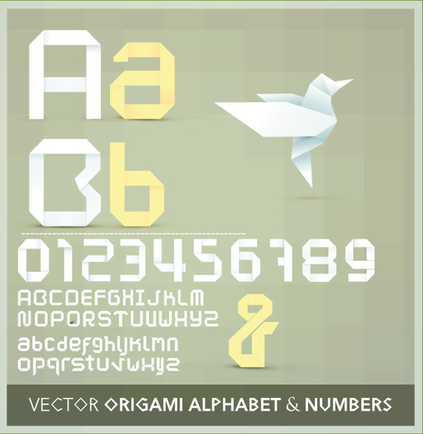 free vector Origami ribbon 26 english letters and numbers vector 2