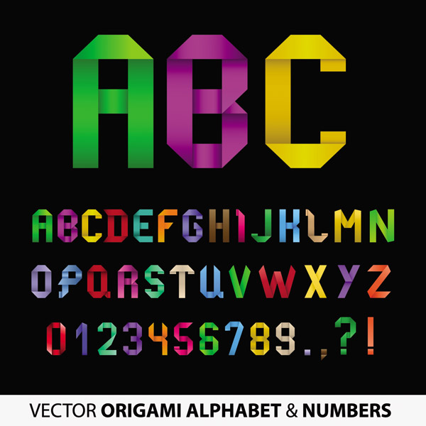 free vector Origami ribbon 26 english letters and numbers vector 4