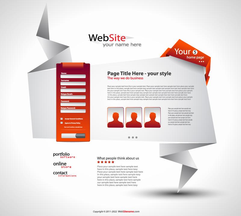 Free Vector Origami Website Design 05