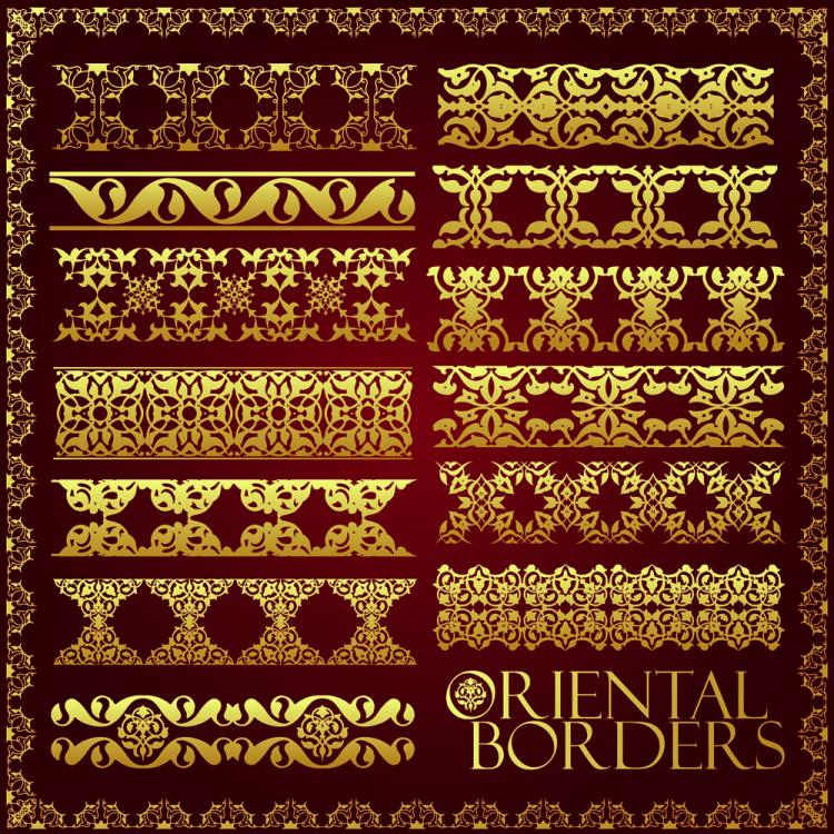 free vector Ornate traditional patterns border 02 vector
