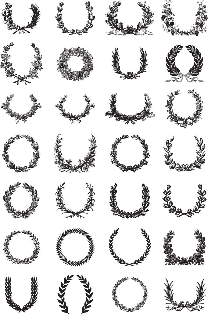 free vector Ornate Wreath Vector Set