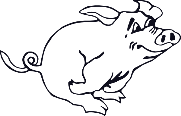 free vector Outline Running Pig clip art