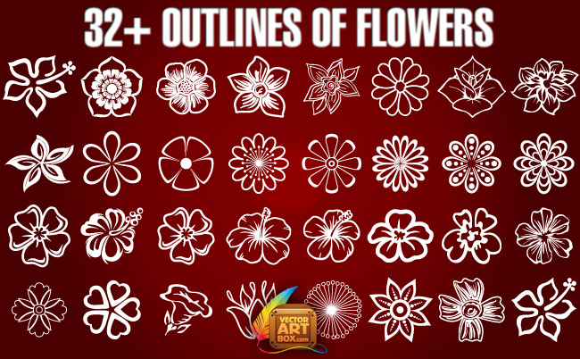free vector Outlines of Flowers
