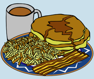 free vector Pancake And Syrup Coffee Bacon Hashbrown clip art