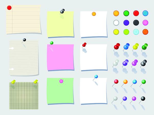 free vector Paper notes vector pin