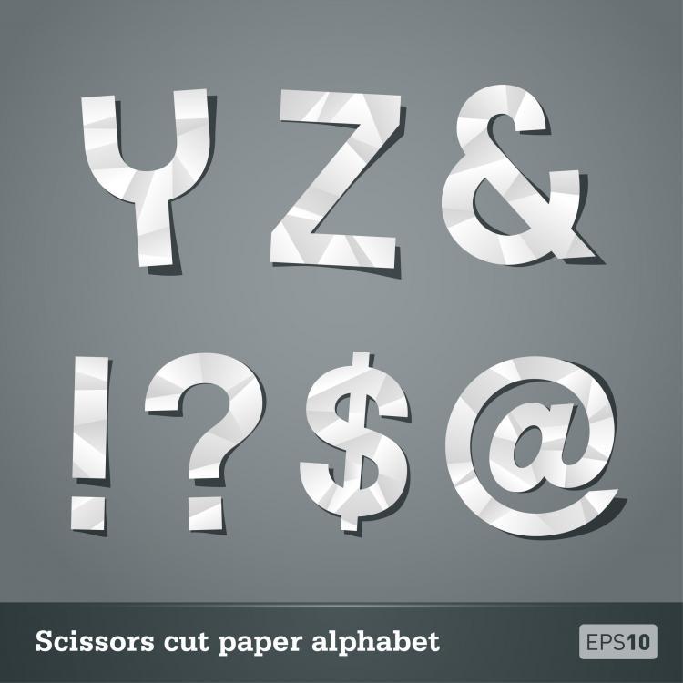 free vector Papercut letters 05 vector