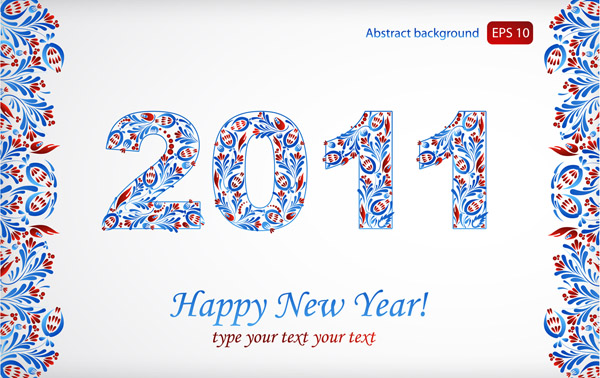 free vector Particular pattern and happy new year 2011 christmas vector