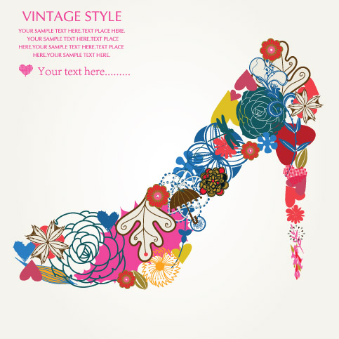free vector Pattern consisting of high heels and pink heart vector