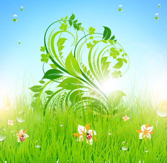 free vector Pattern of green grass 02 vector