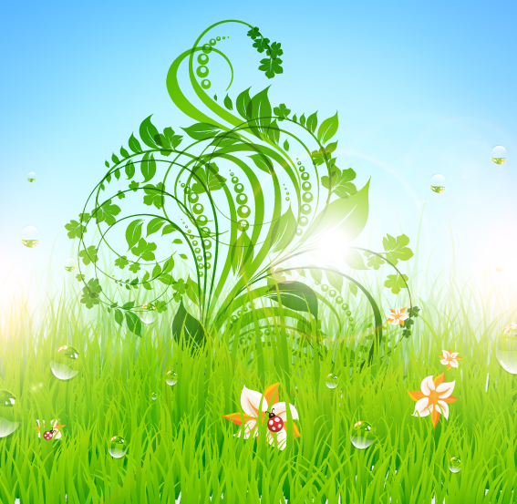 free vector Pattern of green grass 04 vector