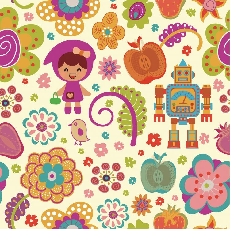 free vector Pattern vector cute cartoon flowers