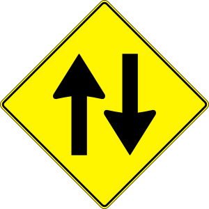 free vector Paulprogrammer Yellow Road Sign Two Way Traffic clip art