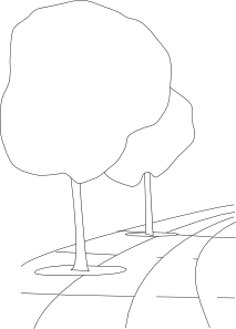 free vector Pavement Street Trees Outline 3d clip art