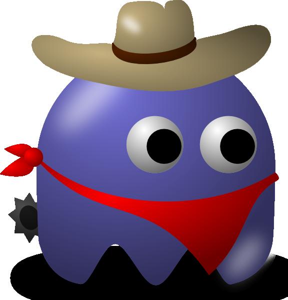 free vector Pcman Game Baddie Cowboy clip art