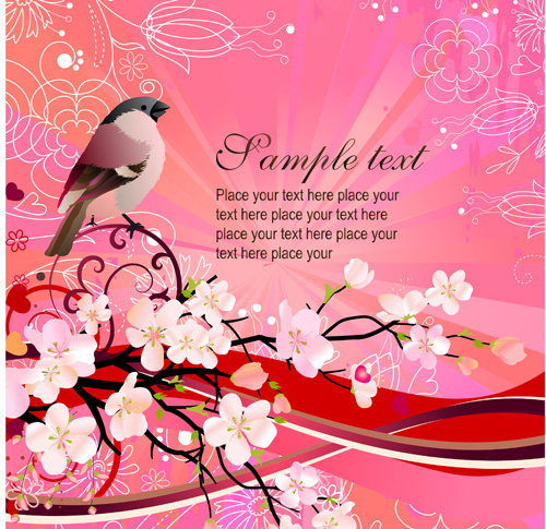 free vector Peach birds background vector