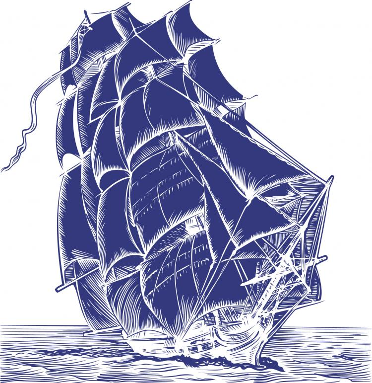 free vector Pen painting style sailing vector material